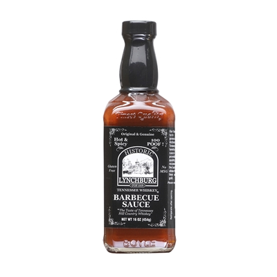 Historic Lynchburg Tennessee Whiskey Hot and Spicy Barbecue Sauce 100 'Poof'